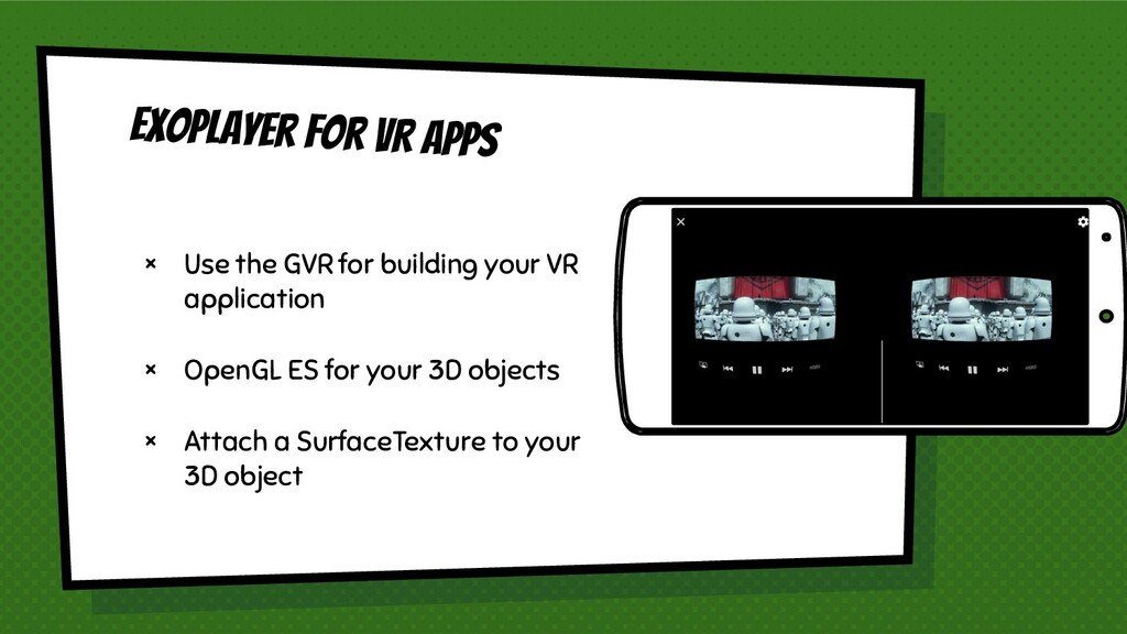 Exoplayer for VR apps × Use the GVR for buildin...