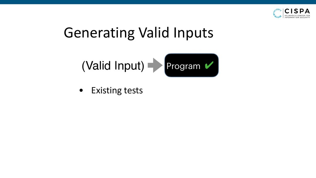 Generating Valid Inputs • Existing tests Progra...