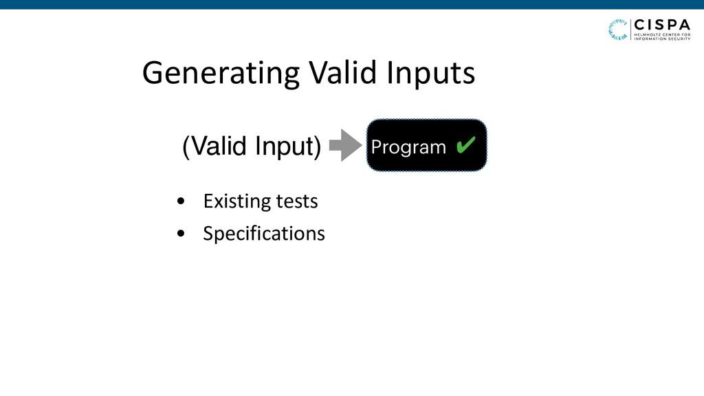 Generating Valid Inputs • Existing tests • Spec...