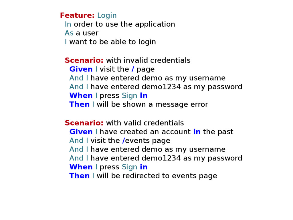 Feature: Login In order to use the application ...
