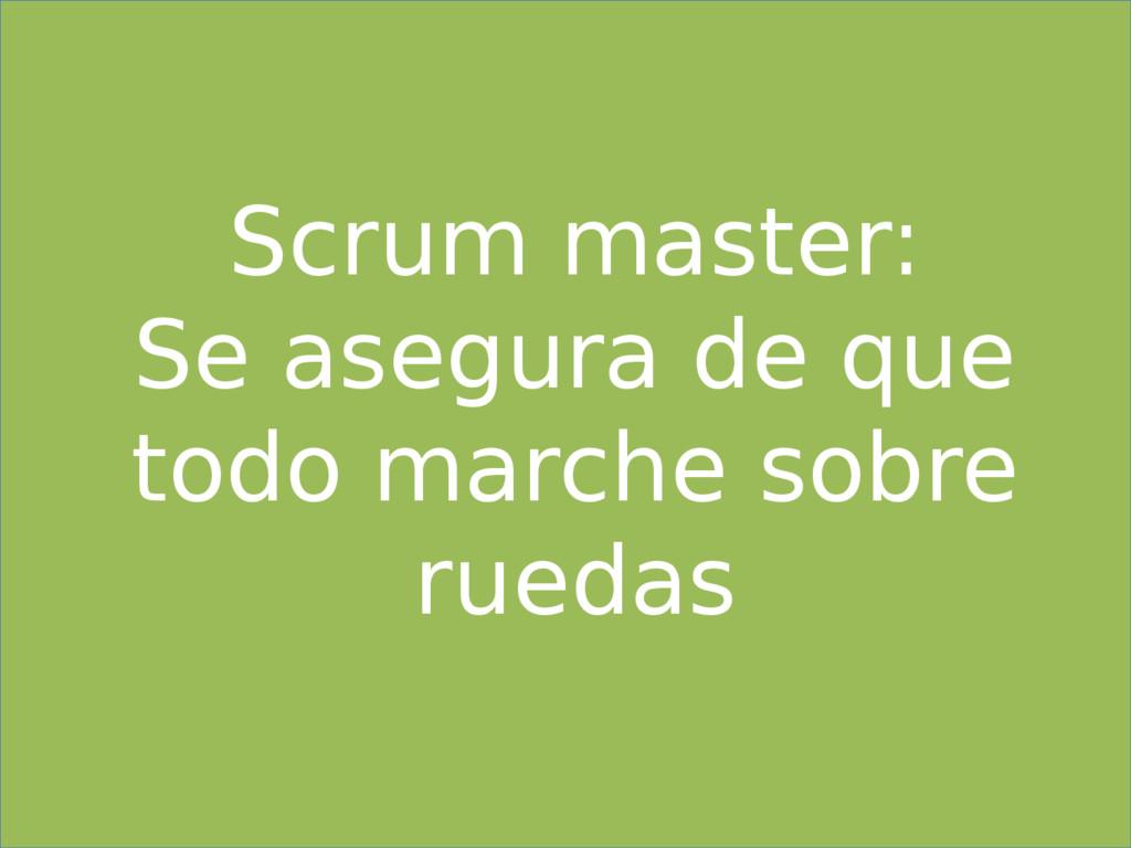 Scrum master: Se asegura de que todo marche sob...