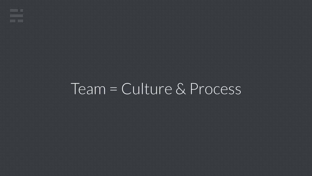 Team = Culture & Process