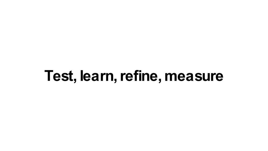 Test, learn, refine, measure