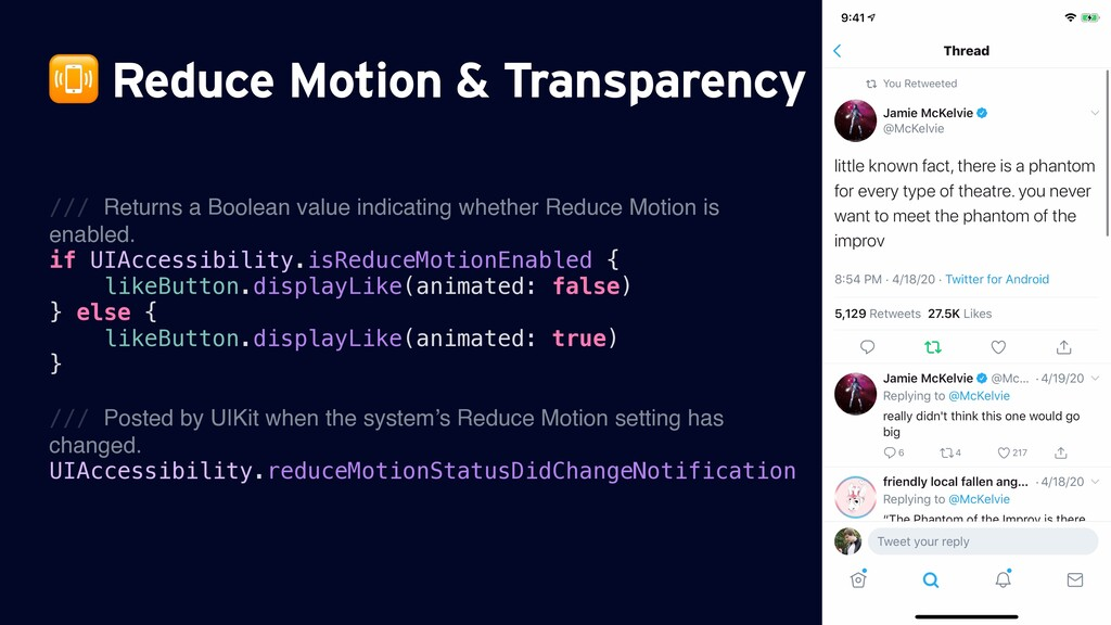 Reduce Motion & Transparency /// Returns a Boo...