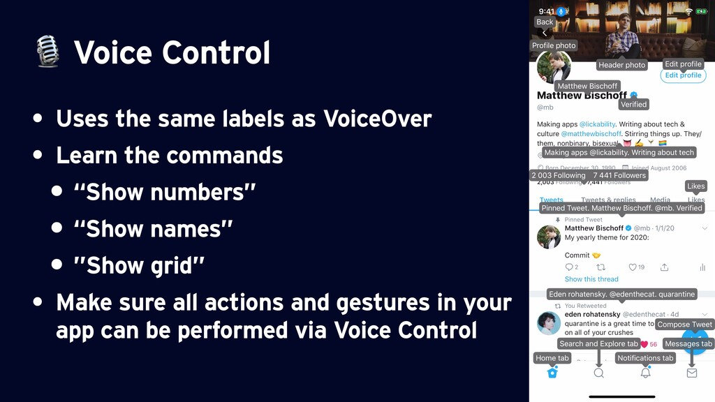 Voice Control • Uses the same labels as VoiceO...