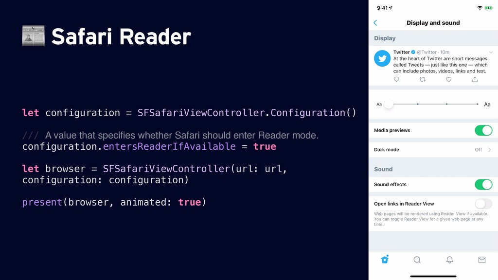 Safari Reader let configuration = SFSafariView...