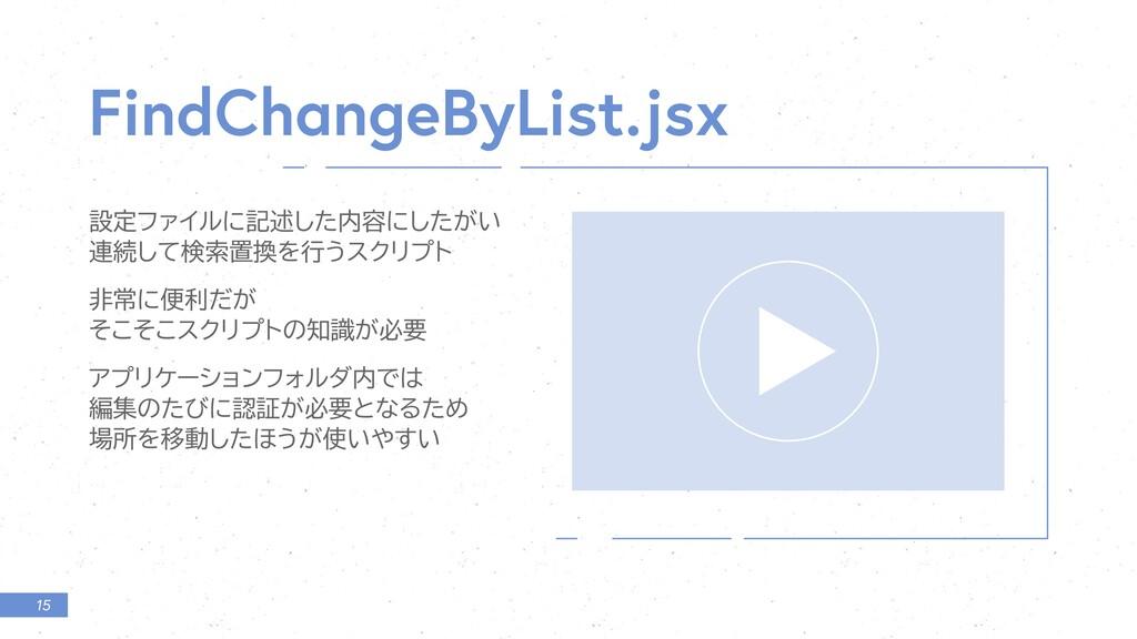 15 FindCh ngeByList.jsx ઃఆϑΝΠϧʹهड़ͨ͠༰ʹ͕͍ͨ͠ ࿈ଓͯ͠...