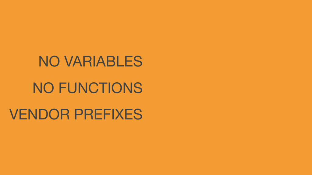 NO VARIABLES NO FUNCTIONS VENDOR PREFIXES