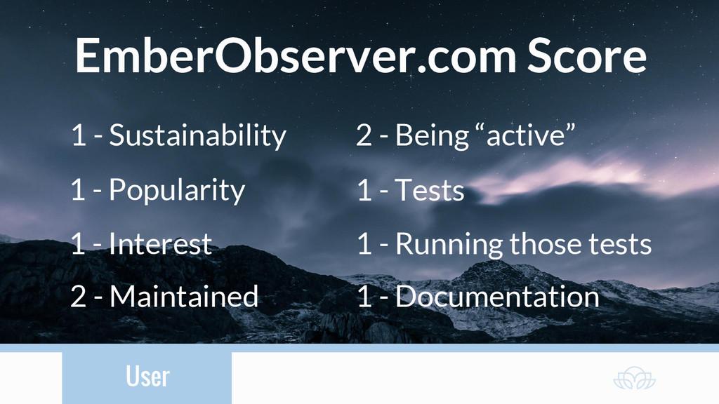 User EmberObserver.com Score 1 - Sustainability...