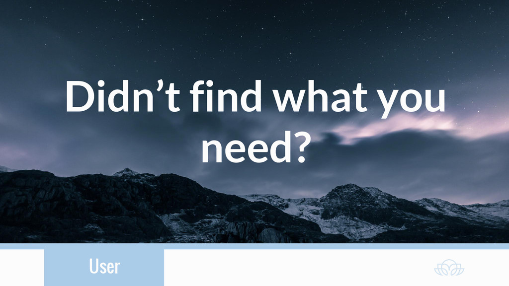 User Didn't find what you need?