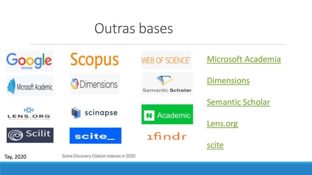 Outras bases Microsoft Academia Dimensions Sema...