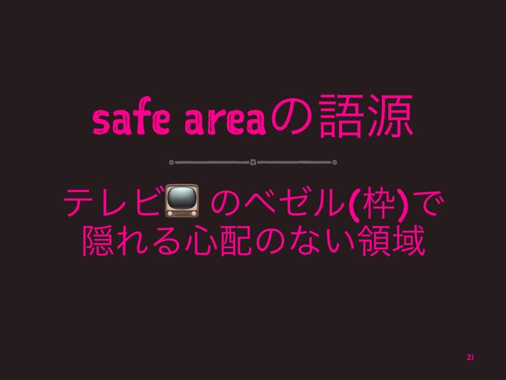 safe areaͷޠݯ ςϨϏ! ͷϕθϧ()Ͱ ӅΕΔ৺ͷͳ͍ྖҬ 21