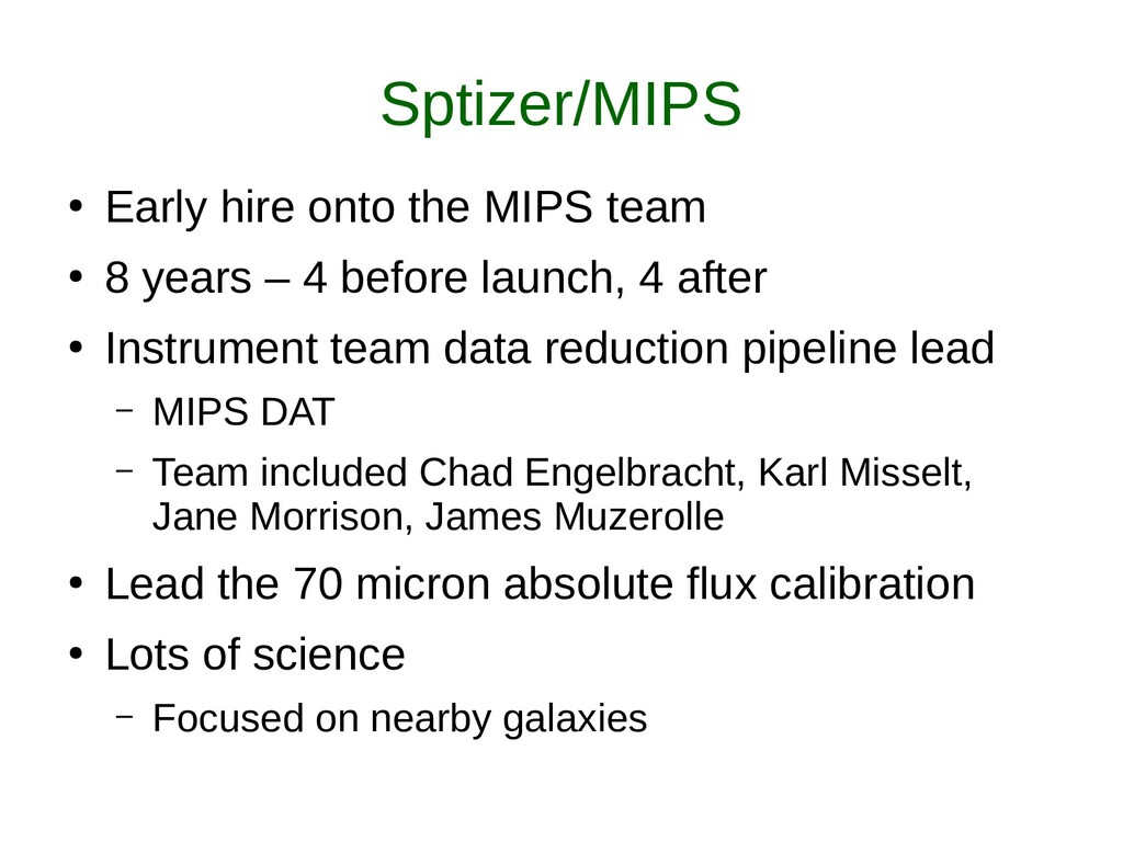 Sptizer/MIPS ● Early hire onto the MIPS team ● ...