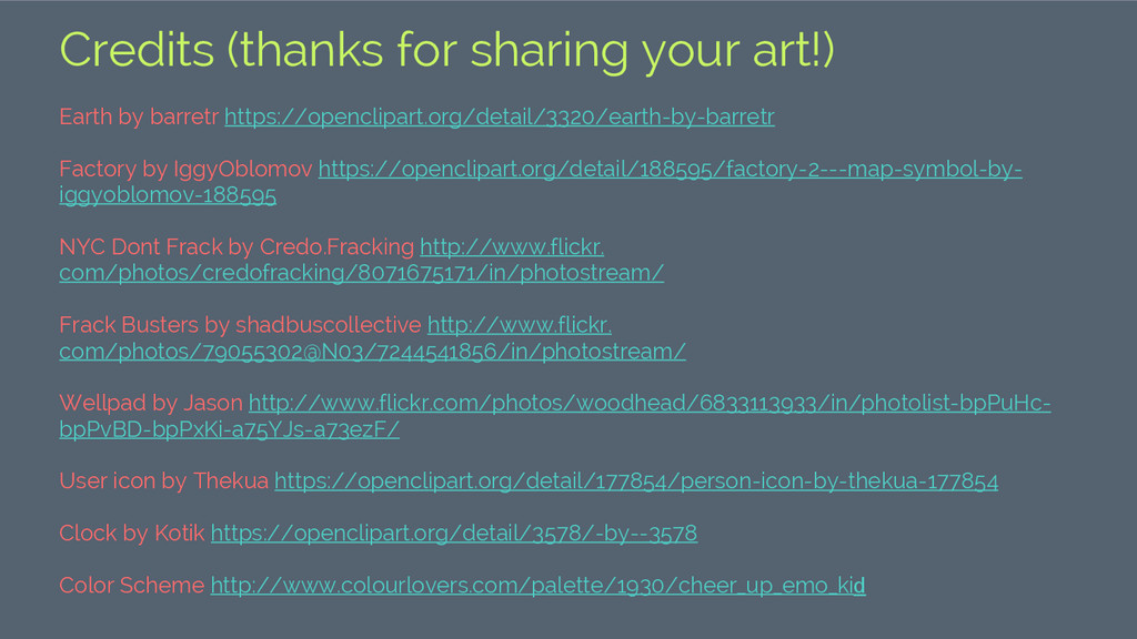 Credits (thanks for sharing your art!) Earth by...