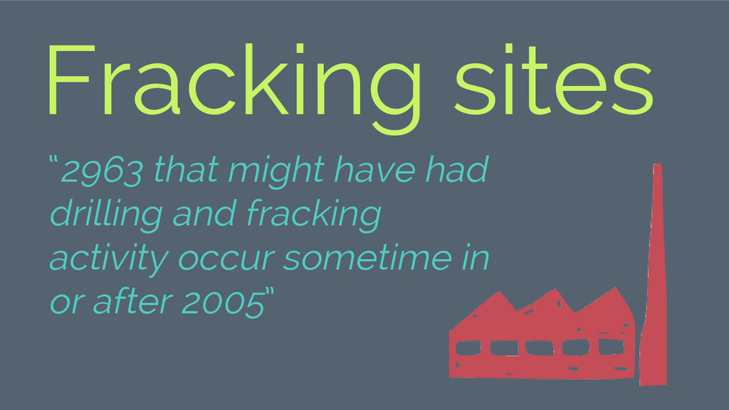 """2963 that might have had drilling and fracking..."