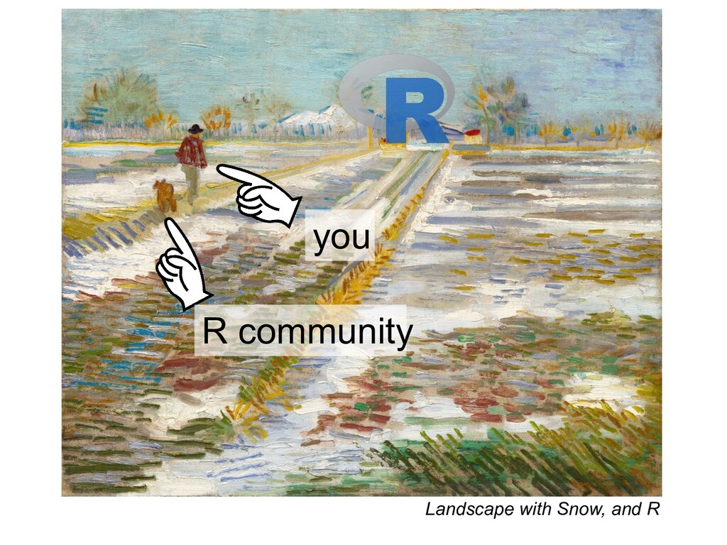 Landscape with Snow, and R you R community