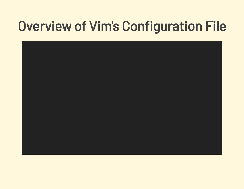 Overview of Vim's Con guration File