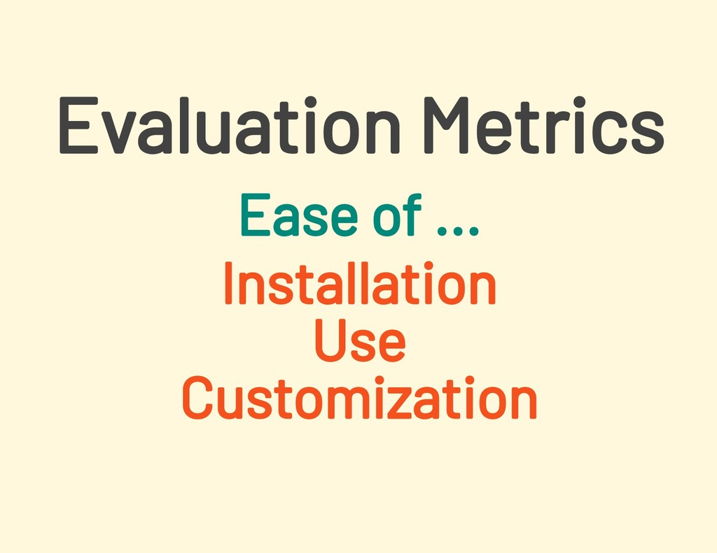 Ease of ... Installation Use Customization Eval...
