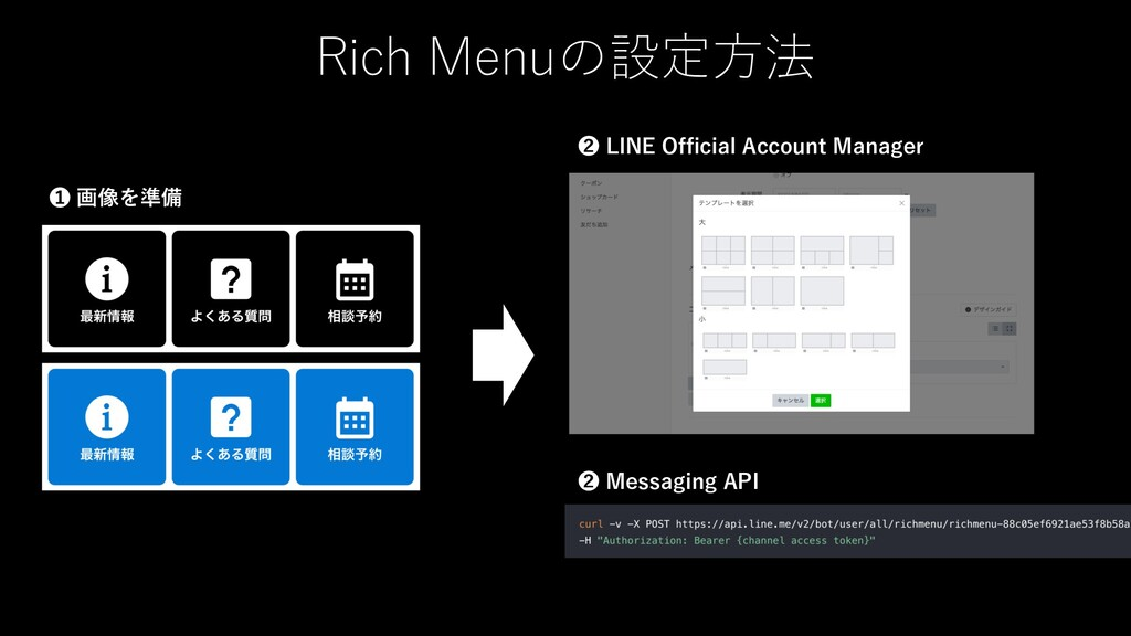 Rich Menuの設定⽅法 LINE Official Account Managerから登...