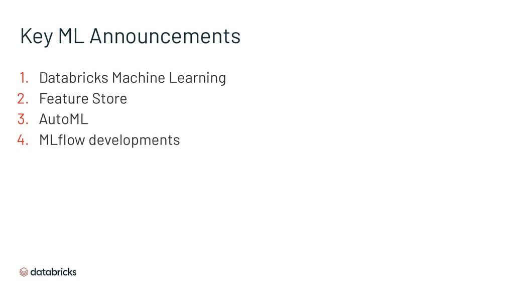 Key ML Announcements 1. Databricks Machine Lear...