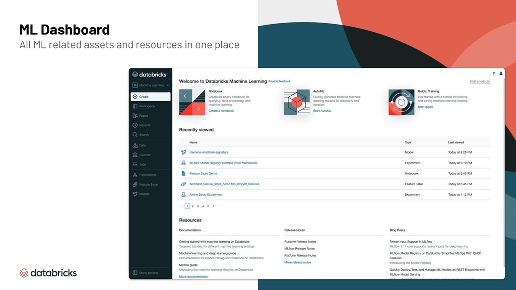 ML Dashboard All ML related assets and resource...