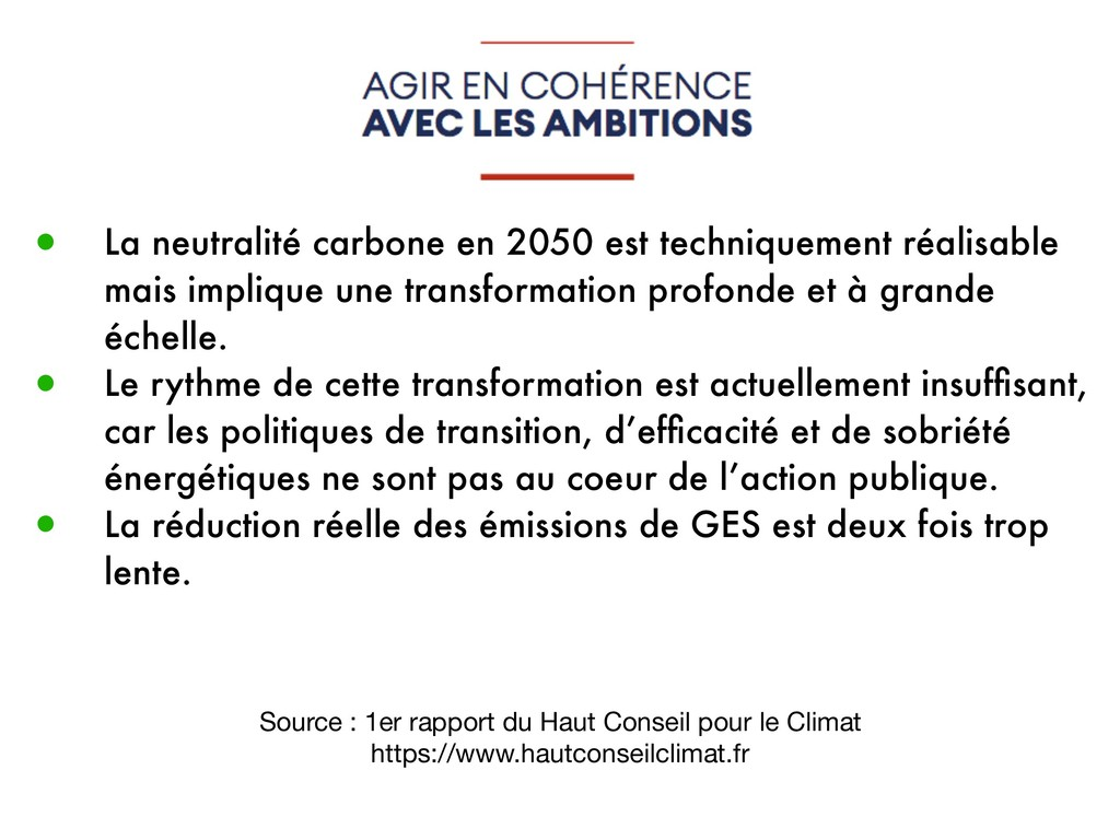 Source : 1er rapport du Haut Conseil pour le Cl...