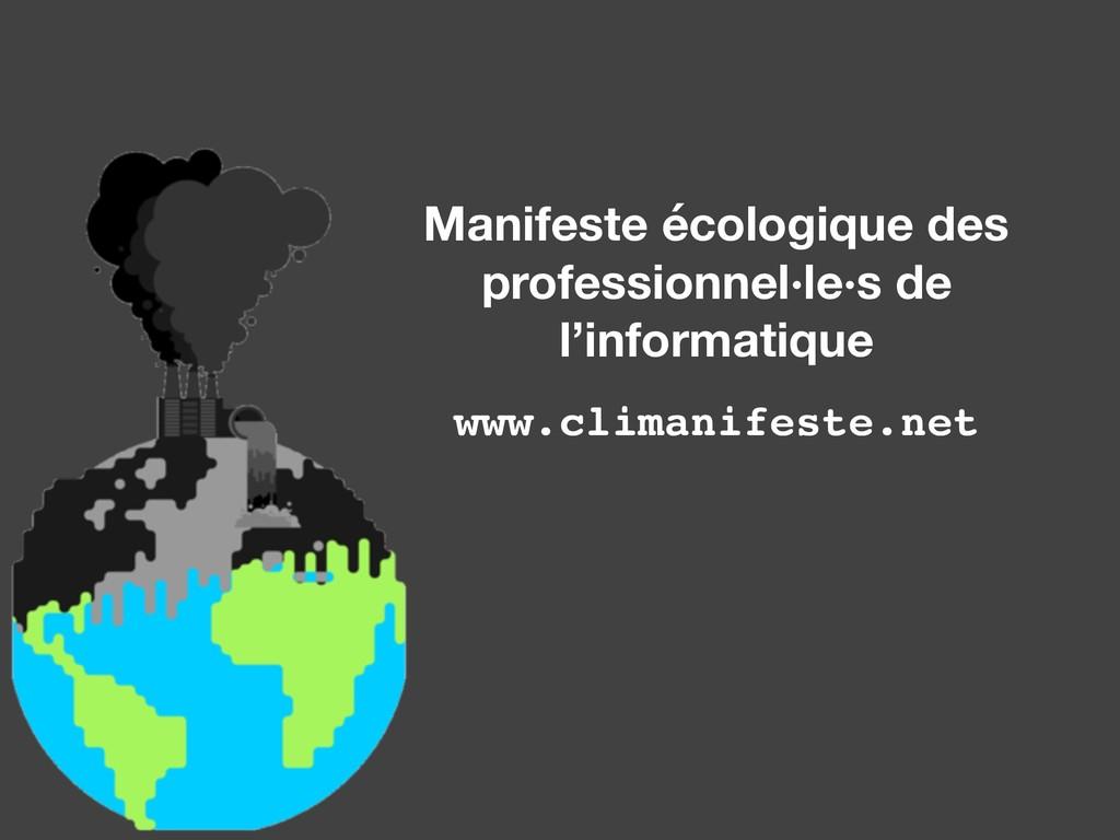Manifeste écologique des professionnel·le·s de ...