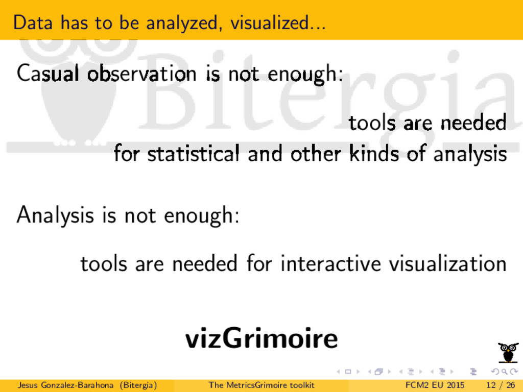 Data has to be analyzed, visualized... Casual o...