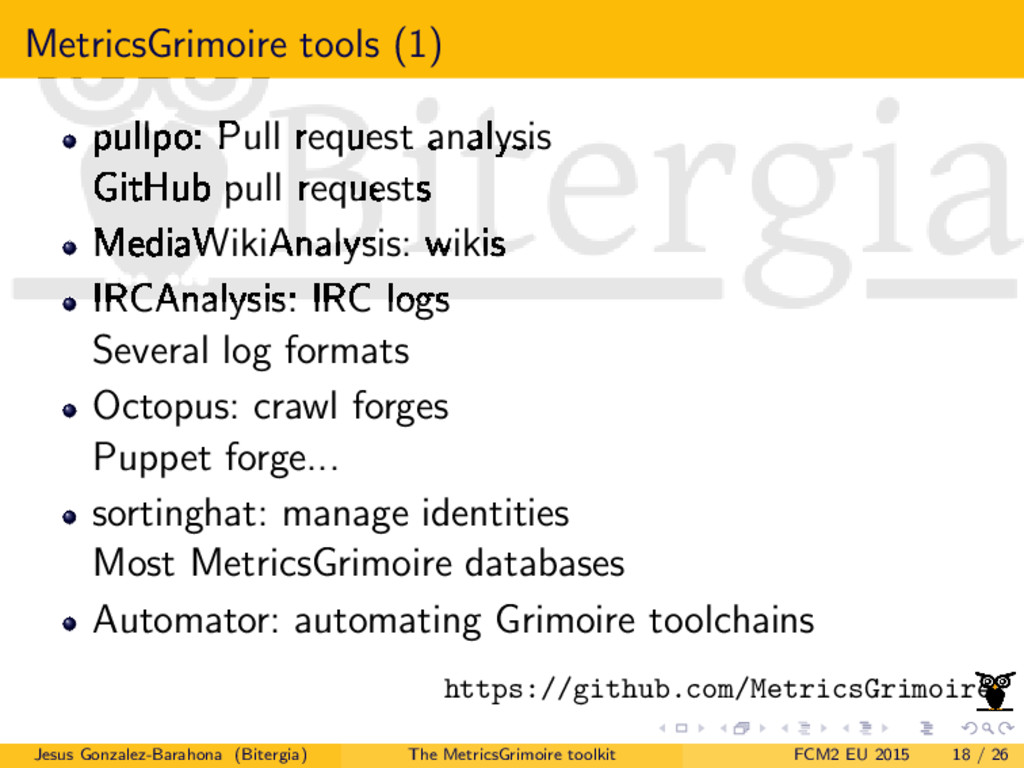 MetricsGrimoire tools (1) pullpo: Pull request ...