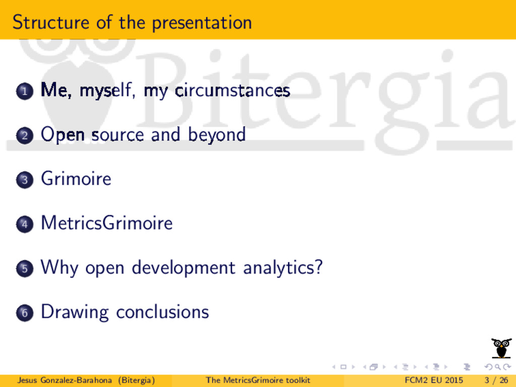 Structure of the presentation 1 Me, myself, my ...