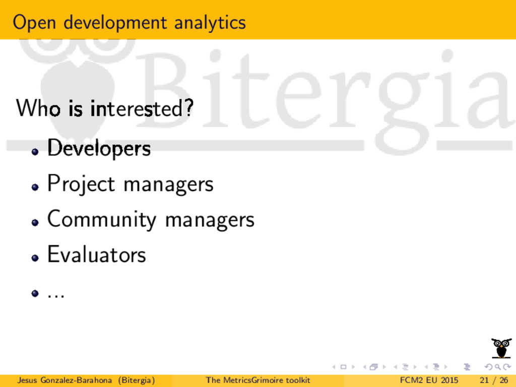 Open development analytics Who is interested? D...