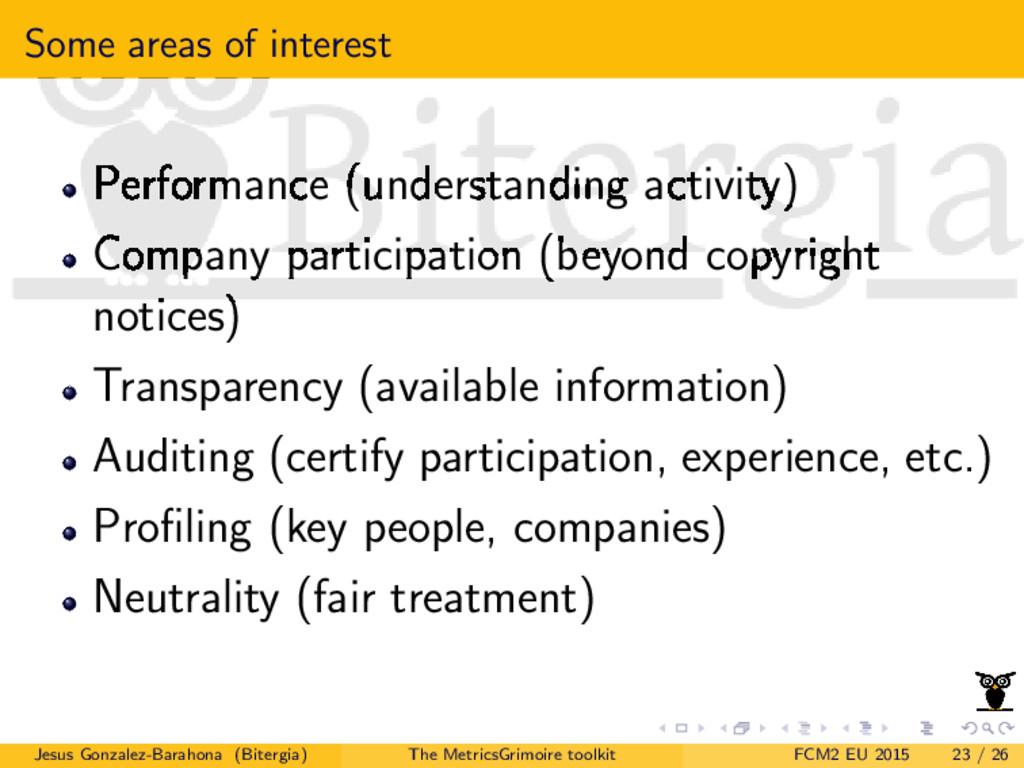Some areas of interest Performance (understandi...
