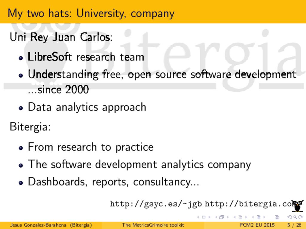 My two hats: University, company Uni Rey Juan C...
