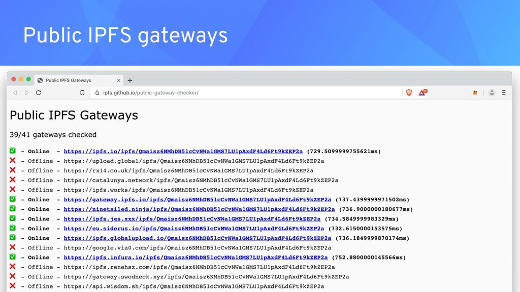 Public IPFS gateways ● .eth domain reserved for...