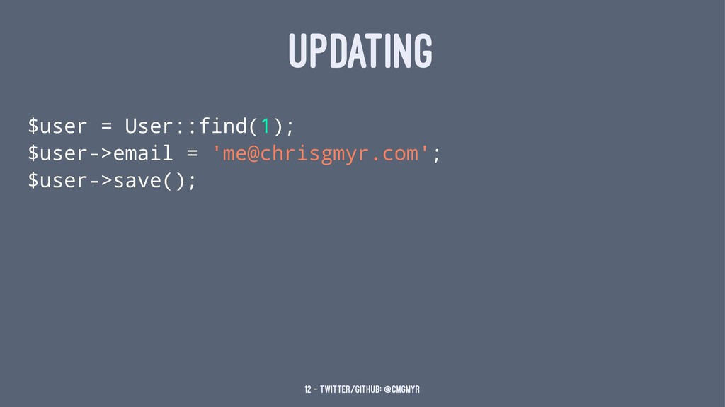 UPDATING $user = User::find(1); $user->email = ...