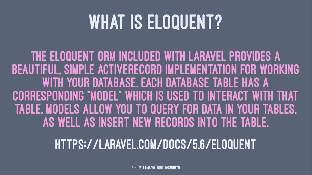 WHAT IS ELOQUENT? The Eloquent ORM included wit...