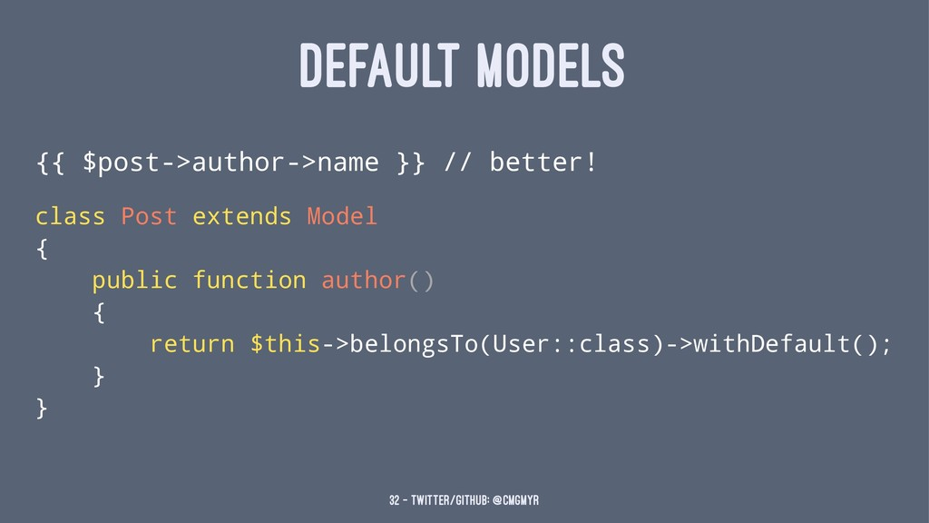 DEFAULT MODELS {{ $post->author->name }} // bet...