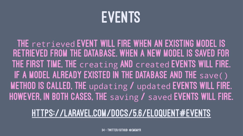 EVENTS The retrieved event will fire when an ex...