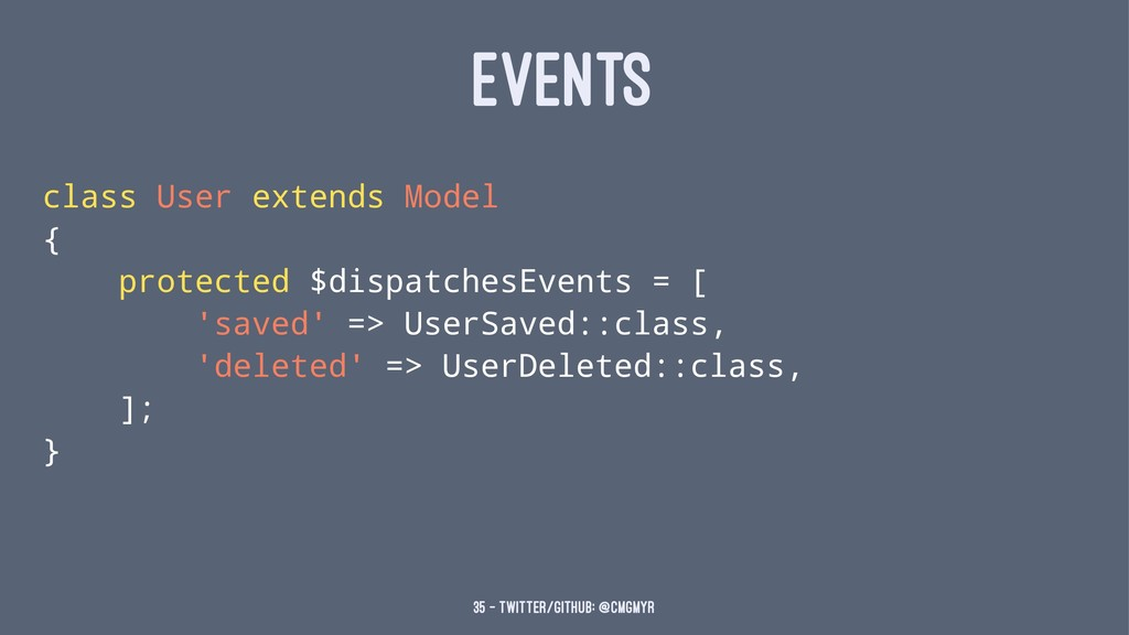 EVENTS class User extends Model { protected $di...
