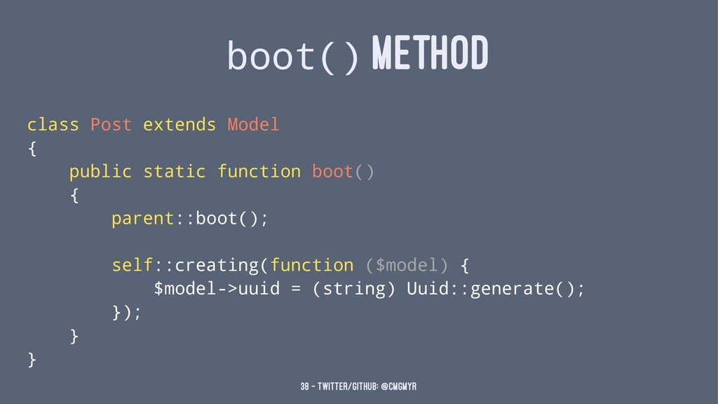 boot() METHOD class Post extends Model { public...