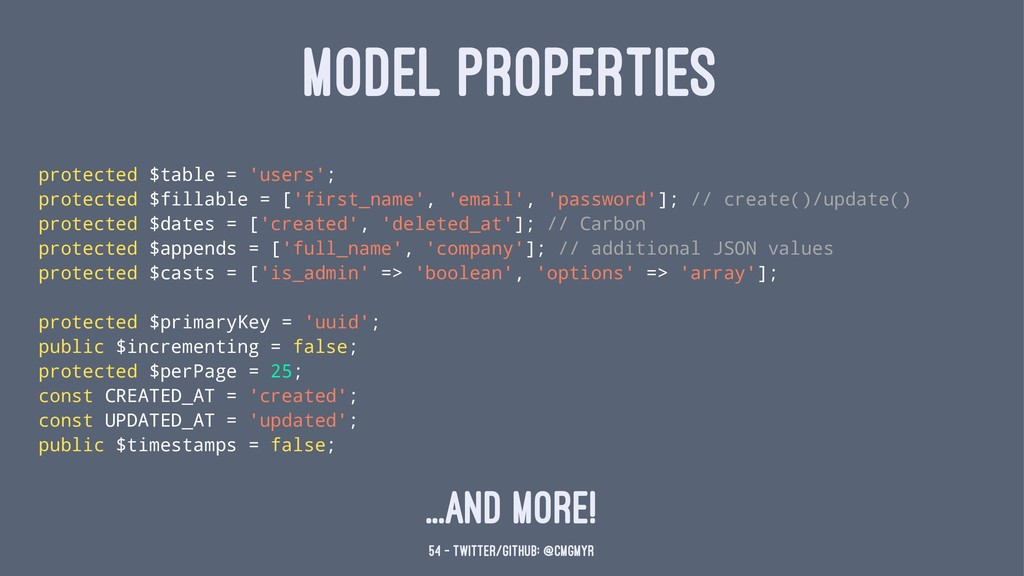 MODEL PROPERTIES protected $table = 'users'; pr...
