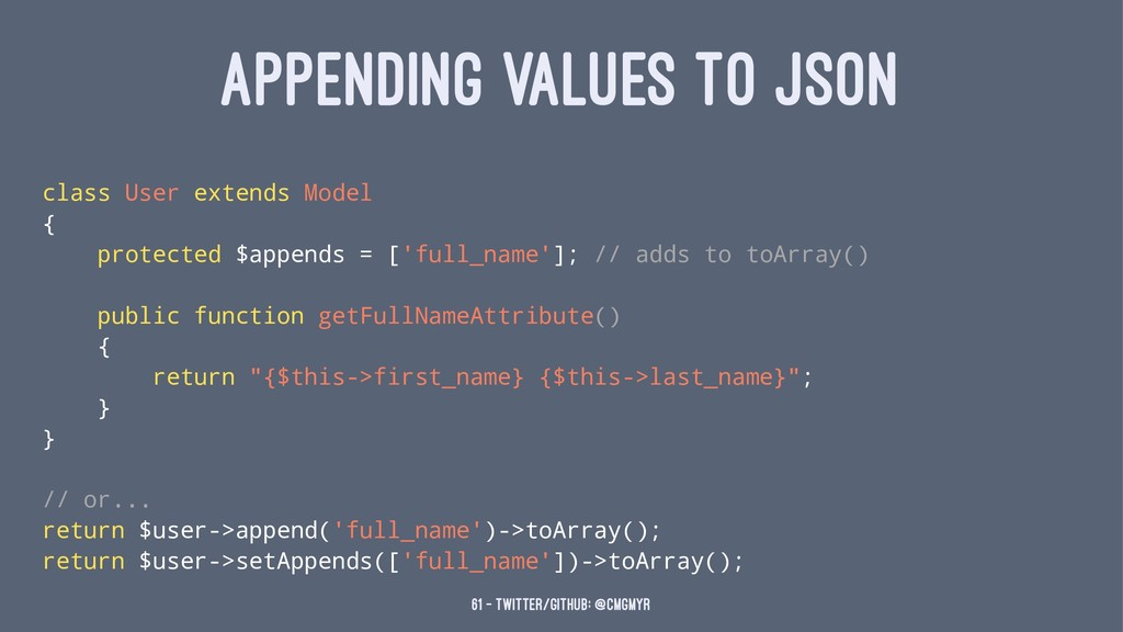 APPENDING VALUES TO JSON class User extends Mod...