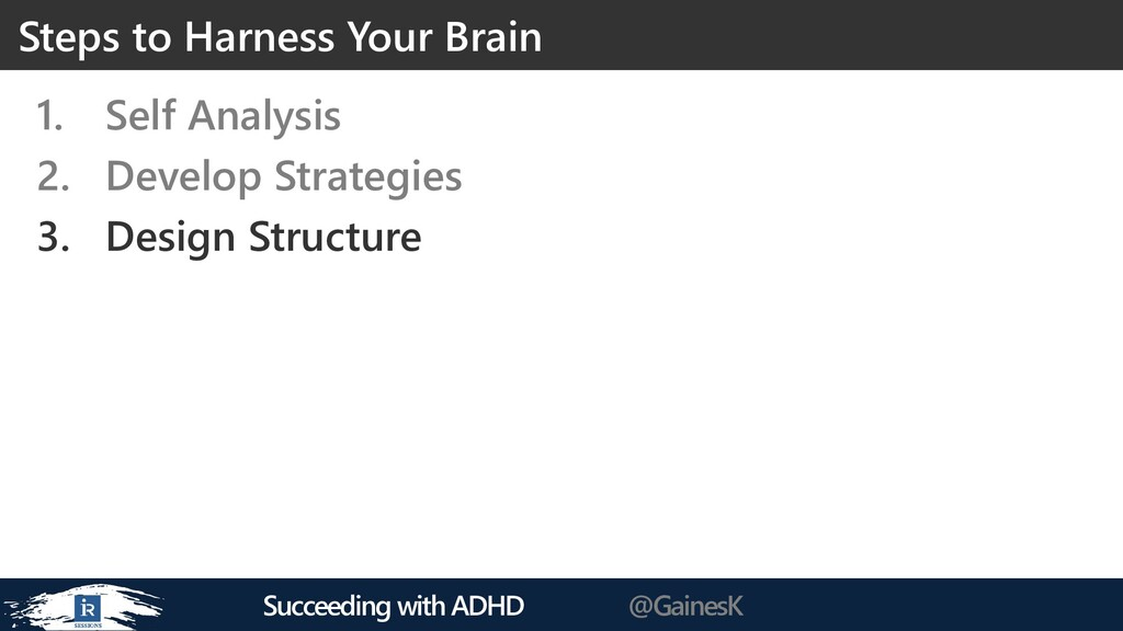 Succeeding with ADHD @GainesK 1. Self Analysis ...