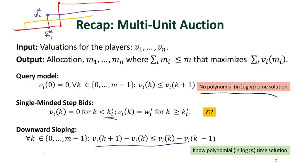 Recap: Multi-Unit Auction 2 Input: Valuations f...