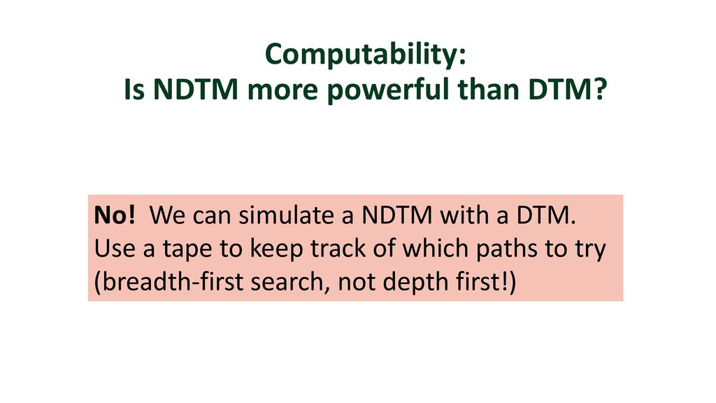 Computability: Is NDTM more powerful than DTM? ...