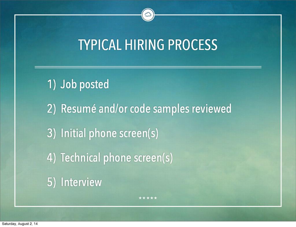 TYPICAL HIRING PROCESS 1) Job posted 2) Resumé ...