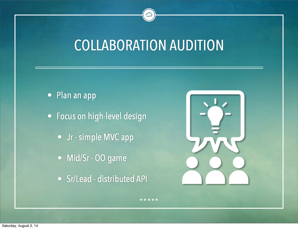 COLLABORATION AUDITION • Plan an app • Focus on...