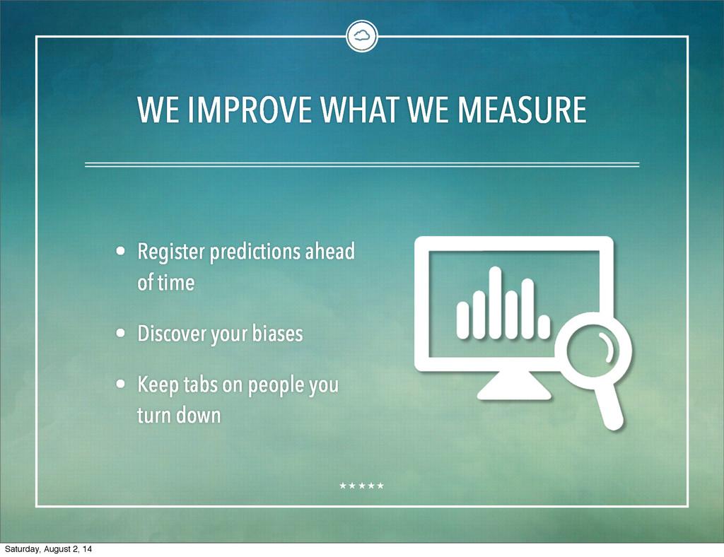 WE IMPROVE WHAT WE MEASURE • Register predictio...