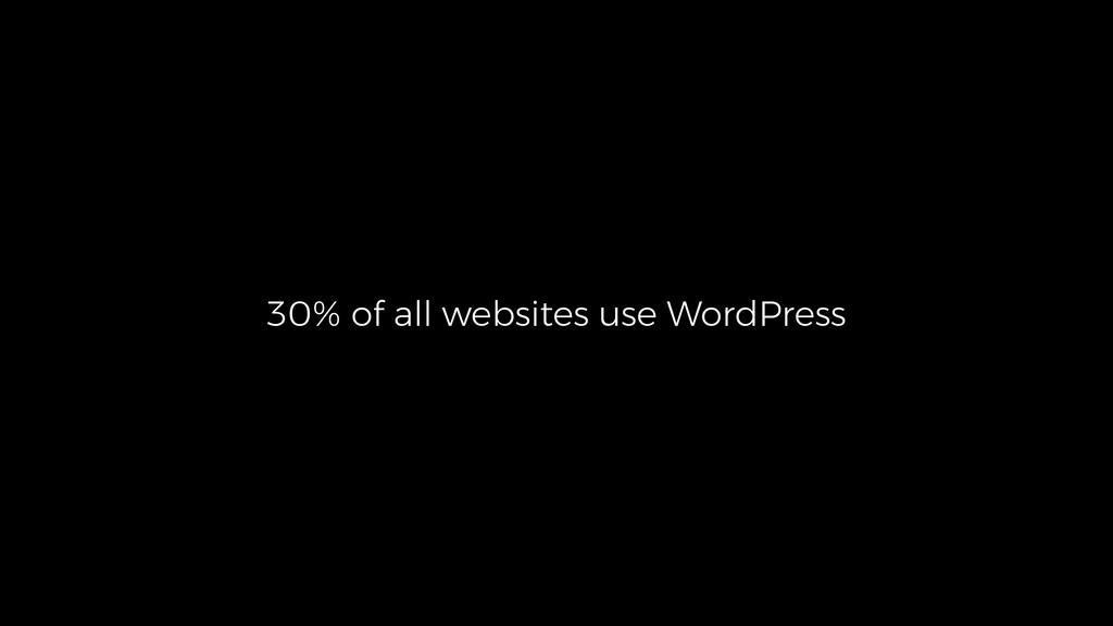 30% of all websites use WordPress