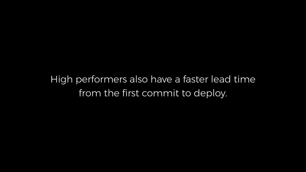 High performers also have a faster lead time